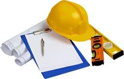 Piani della costruzione, blocco note, penna, livelli e fotografia stock