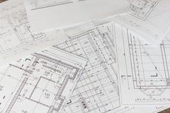 Piani di costruzione Progetto architettonico La pianta ha progettato la costruzione sul disegno Organizzazione e disegno tecnico, fotografia stock libera da diritti