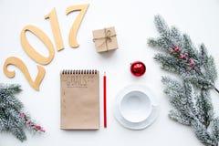 Piani per il nuovo anno sulla vista superiore del fondo bianco Fotografie Stock Libere da Diritti