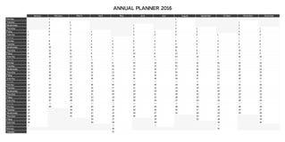 Pianificatore annuale inglese a fondo grigio 2016 Immagine Stock Libera da Diritti