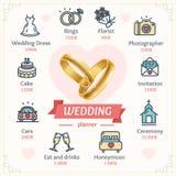 Pianificatore Concept di nozze con gli anelli di oro brillanti Vettore Fotografie Stock