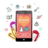 Pianificatore Concept Mobile Phone App di nozze Vettore Fotografie Stock