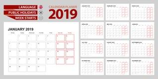 Pianificatore 2019 del calendario murale in inglese, inizio di settimana in lunedì royalty illustrazione gratis
