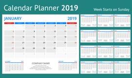 Pianificatore del calendario per 2019 anni Modello della stampa di progettazione della cancelleria di vettore con il posto per la illustrazione vettoriale