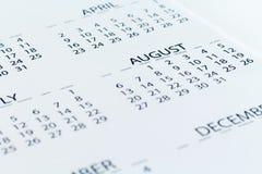 Pianificatore della data di calendario Fotografia Stock Libera da Diritti