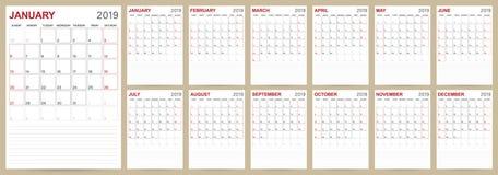 Pianificatore inglese 2019 del calendario illustrazione vettoriale