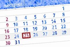 Pianificatore per mese dicembre 2018, giorno di termine, martedì, 25, Natale del calendario fotografia stock libera da diritti
