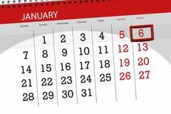 Pianificatore per mese gennaio 2019, giorno di termine, 6, domenica del calendario immagini stock libere da diritti