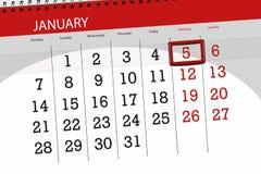 Pianificatore per mese gennaio 2019, giorno di termine, 5, sabato del calendario fotografie stock