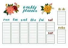 Pianificatore settimanale con i fiori, l'organizzatore della cancelleria per i piani quotidiani ed i programmi illustrazione vettoriale