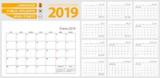 Pianificatore spagnolo del calendario per 2019 Lingua spagnola, inizio di settimana illustrazione vettoriale