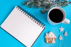 Pianificazione dei precedenti del blu di punto di vista superiore del nuovo anno Fotografie Stock Libere da Diritti