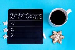 Pianificazione dei precedenti del blu di punto di vista superiore del nuovo anno Immagine Stock