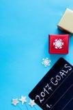 Pianificazione dei precedenti del blu di punto di vista superiore del nuovo anno Fotografia Stock Libera da Diritti