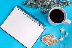 Pianificazione dei precedenti del blu di punto di vista superiore del nuovo anno Immagini Stock Libere da Diritti