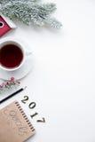 Pianificazione dei precedenti di bianco di punto di vista superiore del nuovo anno Fotografia Stock Libera da Diritti