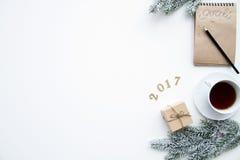 Pianificazione dei precedenti di bianco di punto di vista superiore del nuovo anno Immagine Stock Libera da Diritti
