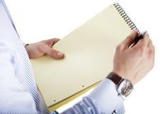 Pianificazione dell'uomo d'affari su un documento Fotografia Stock Libera da Diritti