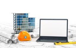 Pianificazione della casa, dei progetti di disegno, di un casco e di un computer portatile aperto con uno schermo in bianco illustrazione vettoriale