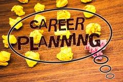 Pianificazione di carriera del testo di scrittura di parola Concetto di affari per il Cr di legno dello scrittorio di Job Growth  immagini stock libere da diritti