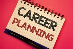 Pianificazione di carriera del testo di scrittura di parola Concetto di affari per strategia educativa Job Growth Text di svilupp fotografia stock libera da diritti