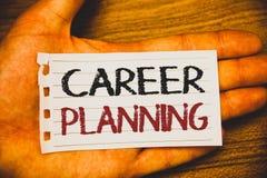 Pianificazione di carriera di scrittura del testo della scrittura Concetto che significa strategia educativa Job Growth Text di s immagini stock libere da diritti