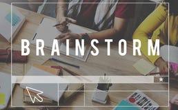 Pianificazione di pensiero di riunione di 'brainstorming' di lampo di genio che divide Conce Immagini Stock