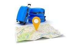 pianificazione di viaggio 3d e di navigazione Fotografia Stock Libera da Diritti