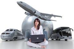 Pianificazione di viaggio online facile Fotografia Stock Libera da Diritti