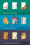 Pianificazione e gestione piane di arte di progettazione di ingegneria delle icone Immagini Stock