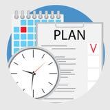 Pianificazione ed organizzazione del vettore piano dell'icona di tempo Immagine Stock Libera da Diritti
