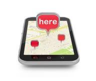 Pianificazione mobile di viaggio o di navigazione Fotografie Stock