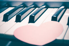 Pianino i serce Zdjęcia Royalty Free