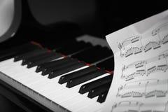 Pianino klucze na czarnym klasycznym uroczystym pianinie Obraz Stock