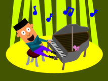 Pianist. Cartoon illustration of a very happy man playing a piano Royalty Free Stock Photo