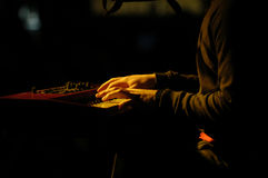 Pianist. A pianist plays at a live performance Stock Image