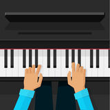 Pianist artist hands playing on piano keys vector Royalty Free Stock Images