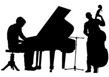 Pianist and bass. Vector drawing pianist and bass on stage. Silhouettes on white background royalty free illustration