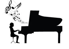 Pianist concert. Musical piano pianist concert note Stock Images