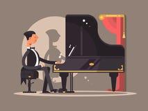 Pianist führt am Konzert durch lizenzfreie abbildung