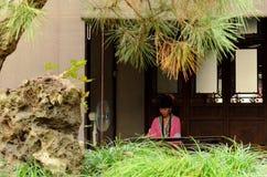 Pianist at Humble Administrators Garden, Suzhou, China Stock Photo