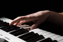Pianist musician piano musical instrument playing. Stock Photo