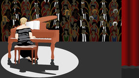 Pianist på etapp Royaltyfri Fotografi