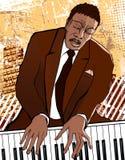 Pianist på grungebakgrund Arkivfoto