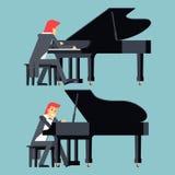 Pianist-Piano Player Concept-Charakter-flaches Design Lizenzfreies Stockbild