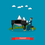 Pianist playing music vector illustration in flat style vector illustration