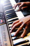 Pianist playing a piano Royalty Free Stock Images