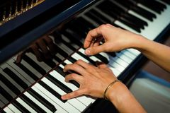 Pianist hands on the background of the piano keys stock photo