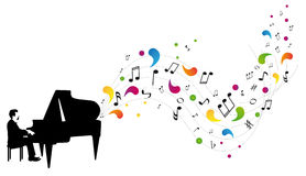 Pianist plays the piano Royalty Free Stock Images