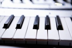 Professional midi keyboard for electronic music composer. Pianist synthesizer key board.Audio equipment for music production.Sound recording studio device for royalty free stock images